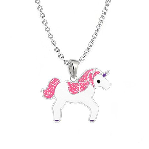 GH1 A Glittery Pink Unicorn Pendant + Necklace 925 Sterling Silver Curb Chain CH08