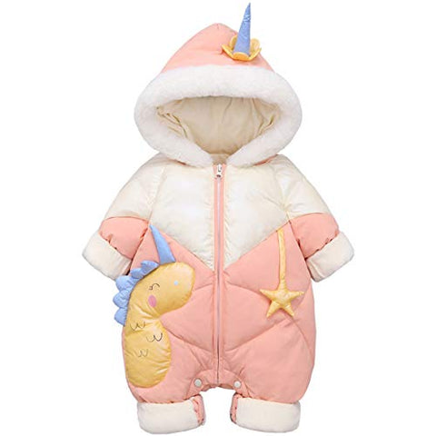 Girls Unicorn Long Sleeve Snowsuit | Pink, White | Duck Down