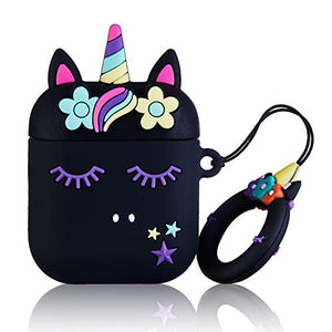 Black Floral Unicorn Case For AirPod 2/1 | Safety Case