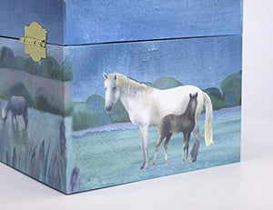 Trousselier Horses Camargue Musical Jewellery Box- Blue