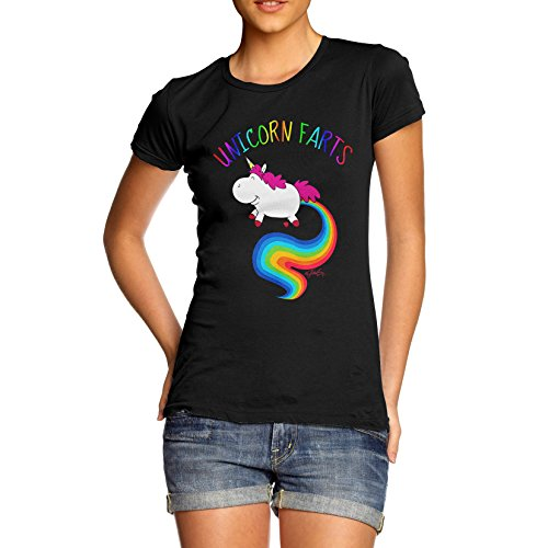 TWISTED ENVY Funny t Shirts For Women Rainbow Unicorn Farts UNI-Farts Funny t Shirts Novelty Joke Humour Medium Black