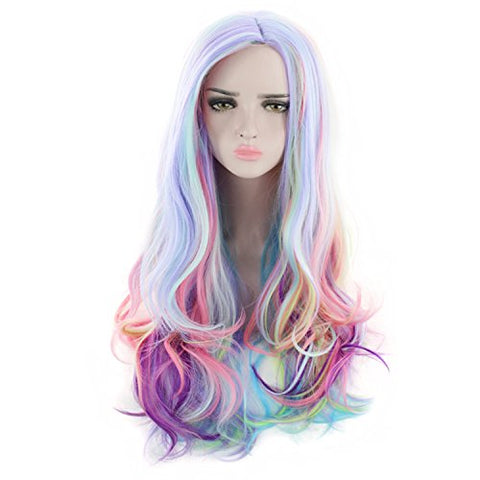 Multicoloured Unicorn Rainbow Hair Wig | Cosplay | Fancy Dress Party