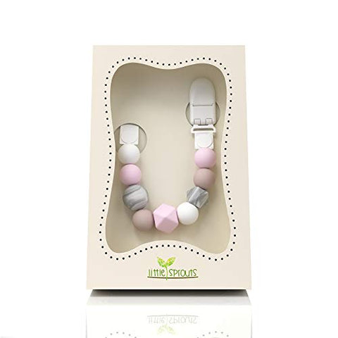 Dummy Chain & Teether  - 2 in 1 - Pink, White, Grey - Ideal Baby Gift