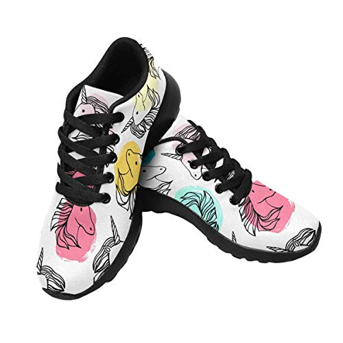 Zenzzle Womens Running Shoes Cute Unicorn Pattern Print on for Ladies Outdoor Running Sneakers Black