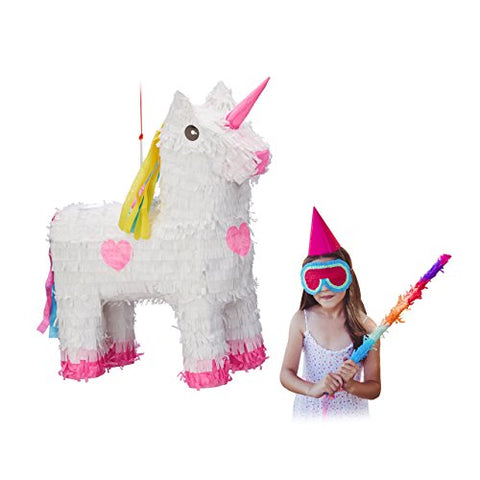 Hanging Unicorn Pinata, Children, Girls, Birthday Party, White-Pink