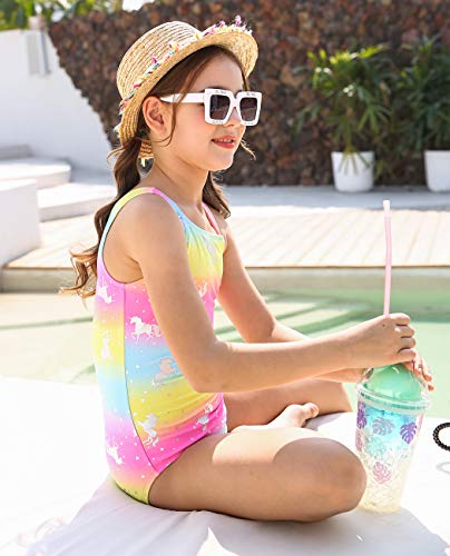Rainbow unicorn swimming costume silver