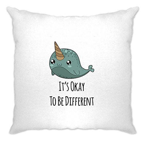 It's Okay To Be Different Narwhal Unicorns Of Sea Cartoon Cute The Ocean Sunfish Bowhead Mammal Tusk Nature Slogan Cushion Cover Sofa Home Cool Birthday Gift Present