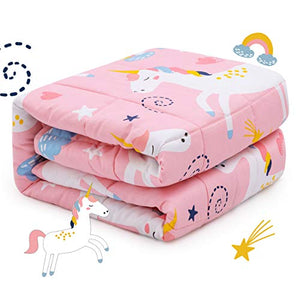 Unicorn Weighted Blanket For Children Teens | 100% Natural Cotton | (1.4 kg, 90x120 cm) | Reduces Kids Anxiety, Insomnia