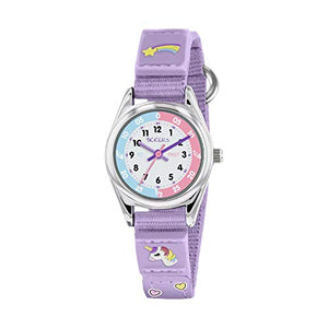 Tikkers Girls Unicorn Analogue Classic Quartz Watch with Unicorn Textile Strap- Lilac