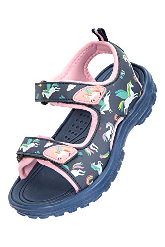 Mountain Warehouse Sand Girls Sandals - Neoprene Kids Beach Shoes, Durable Outsole Summer Shoes, Hook & Loop, Childrens Shoes -for Travelling, Beach Navy Kids Shoe Size 9 UK
