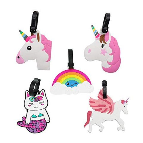 5 x Cute Unicorn Luggage Tags | Suitcase Tags