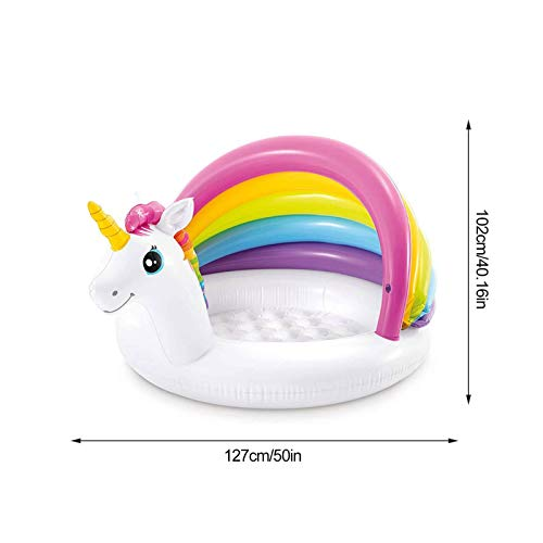Rainbow Unicorn Inflatable Swimming Baby Pool | With PVC Canopy