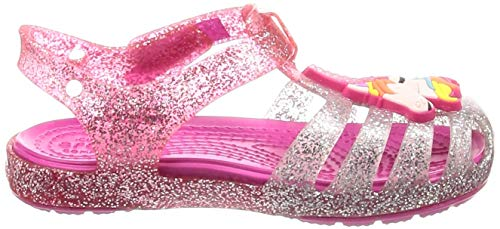 Girls Unicorn Glitter Jelly Shoes Summer Pink Silver