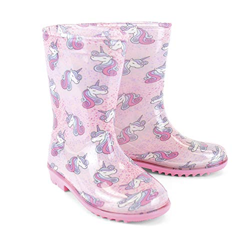 Kids Girls Wellington Boots | Unicorn Design | Pink