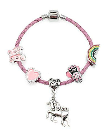 Children's Pink Leather Unicorn, Rainbow Charm Bracelet with Gift Box Girls Jewellery