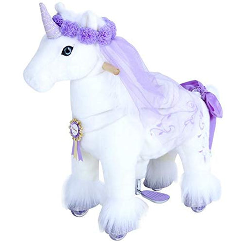 PonyCycle Toy | Girls | Unicorn Ride On Toy | White & Lilac Plush