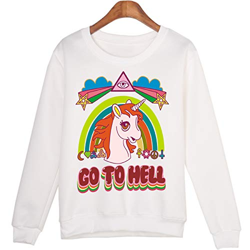 Ladies Hooded Jumper -  6 Colors Rainbow Unicorn Hoodie For Women
