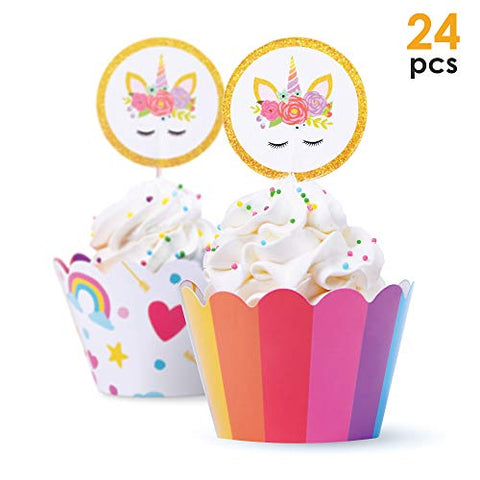 Unicorn Cupcake Toppers – 24 pcs Unicorn Rainbow Cupcake Cases / Wrappers