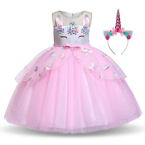 Girls Floral Unicorn Party Dress | Princess Dressing up Costume with Headband