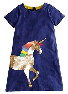 Unicorn Short Sleeve Casual Dress | Sequins | Navy