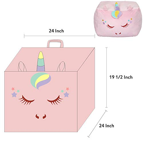 Unicorn Bean Bag Large Toy Organizer Velvet Extra Soft Light Pink
