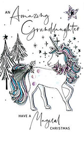 Granddaughter Unicorn Embellished Christmas Card | Hand-Finished
