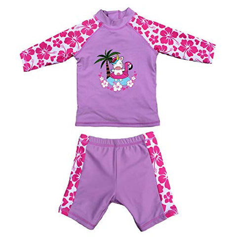 Unicorn pink and purple two piece swimming costume