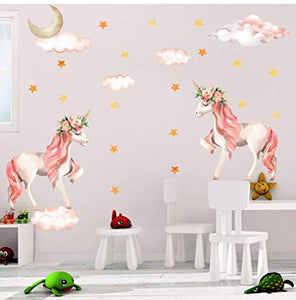 Pack of 2 Unicorn Wall Stickers - Unicorn & Flowers