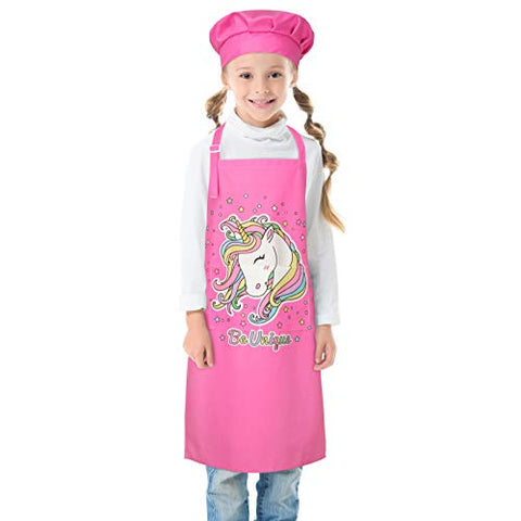 Pink Kids Unicorn Apron & Chefs Hat | Unicorn Gift Idea