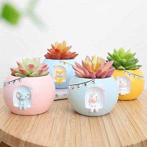 Unicorn And Friends Flower Pot Plant Set of 4