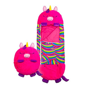 Happy Nappers Play Pillow | Sleeping Bag Surprise | Pink Unicorn | Medium 3-6yrs