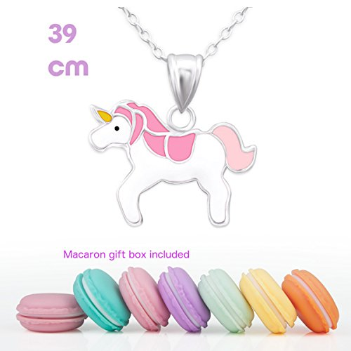 CuteCachoo - Mini macaron gift box included! Childrens kids sterling silver necklace with a pink unicorn pendant, 39cm with 3cm extension.