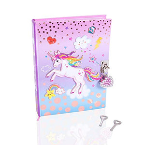 Unicorn Secret Diary With Lock and Keys - Girls Journal Notebook With Heart Padlock