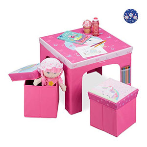 Unicorn Themed Children's Folding Furniture | Table & Storage Ottomans | Pink