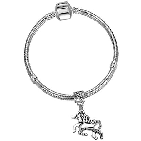 Beautiful Silver Starter Charm Bracelet with Silver Unicorn and Gift Box | Gift Idea Girls