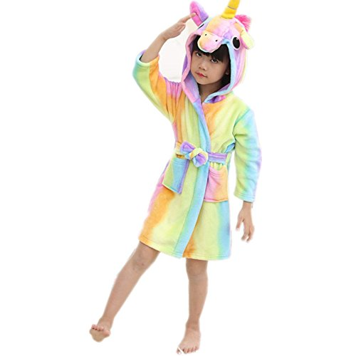 Rainbow Fox Kids Bathrobes Hooded Unicorn Towelling Bathrobes Dressing Gown Soft Warm Flannel Cartoon Animal Bathrobes Rainbow Pegasus For height Lower Than 140cm (Rainbow, 140(130-140cm))
