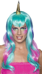 Multi Colour Unicorn Wig | Magical Fancy Dress Accessory | Adult