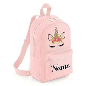 Personalised unicorn name backpack pink