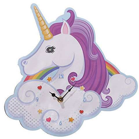 Unicorn wall clock, nursery, child's bedroom, playroom. Purple hair, rainbow, cloud design.