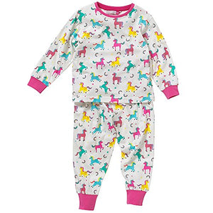 Cozy n Dozy Girls Unicorns Rainbows Stars Printed Pyjama Set - Cream - 6/7 Years