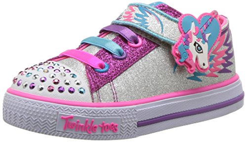 Unicorn Skechers trainers girls pink sliver glitter