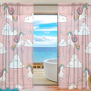 Unicorn Clouds Stars Sheer Curtains
