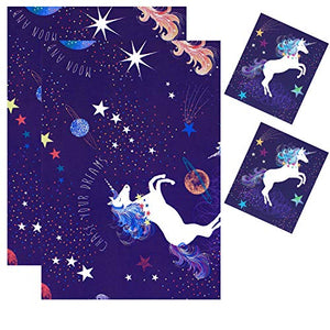 Unicorn Stars Wrapping Paper Blue