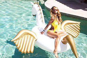 "Giant Inflatable Pegasus Pool Float 94"" - 240cm Outdoor Swimming Pool Large Floatie Lounge For Adults & Kids - Cool Fun Blow Up Gold Floater Toy"