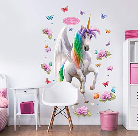 Walltastic Magical Unicorn Wall Stickers | Multi- Coloured | 4 ft
