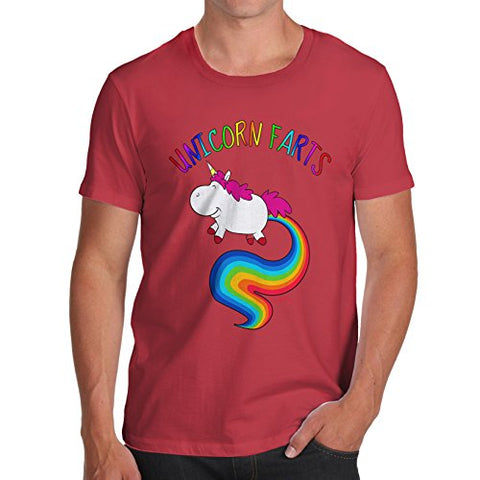 TWISTED ENVY Men's Rainbow Unicorn Farts Uni-Farts 100% Cotton T-Shirt, Crew Neck, Comfortable and Soft Classic Tee with Unique Design Small Red