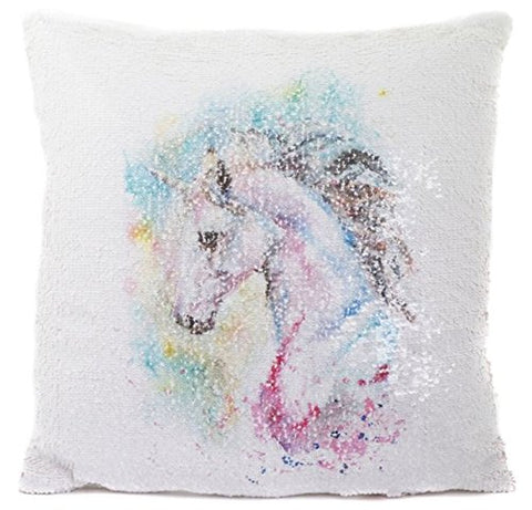 Pastel Sequin Design Unicorn Cushion