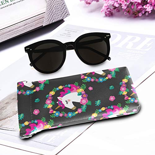 Sunglasses case unicorns black pink