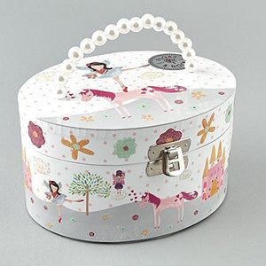 Oval Fairy and Unicorn Musical Jewellery Box with Handle by Floss & Rock
