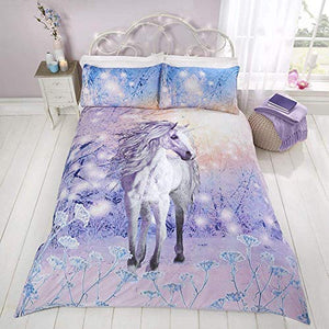 Magical Unicorn Quilt Duvet Cover Bed Set | Purple | Single